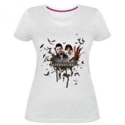 Женская стрейчевая футболка Братья - FatLine