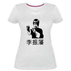 Женская стрейчевая футболка Брюс ли - FatLine