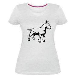 Жіноча стрейчева футболка Бультерьер