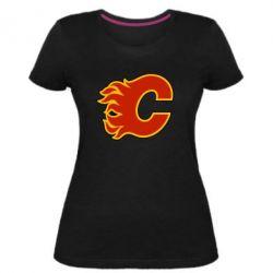 Женская стрейчевая футболка Calgary Flames - FatLine