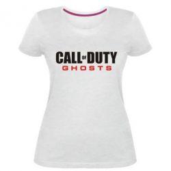 Жіноча стрейчева футболка Call of Duty Ghosts логотип
