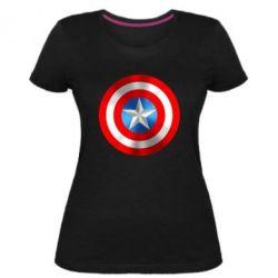 Женская стрейчевая футболка Captain America 3D Shield