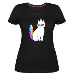Женская стрейчевая футболка Cat Unicorn