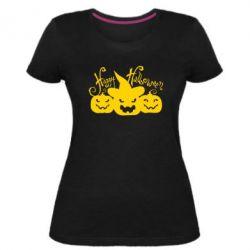 Женская стрейчевая футболка Cчастливого Хэллоуина - FatLine