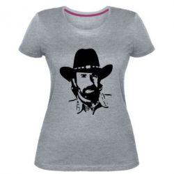 Женская стрейчевая футболка Чак Норис - FatLine