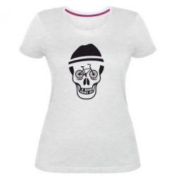 Жіноча стрейчева футболка Череп велосипедиста