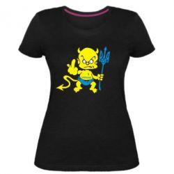 Жіноча стрейчева футболка Чортик з тризубом