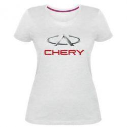 Женская стрейчевая футболка Chery Logo - FatLine
