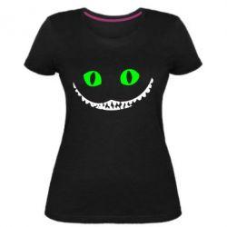 Женская стрейчевая футболка чеширский кот - FatLine
