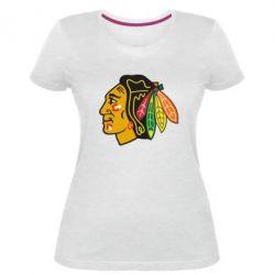 Женская стрейчевая футболка Chicago Black Hawks - FatLine