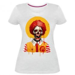 Жіноча стрейчева футболка Clown McDonald's skeleton