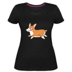 Женская стрейчевая футболка Corgi