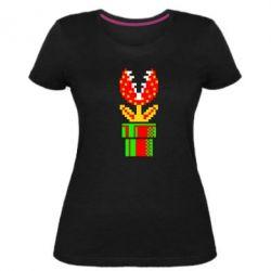Жіноча стрейчева футболка Квітка-людожер Супер Маріо
