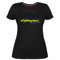 Жіноча стрейчева футболка Cyberpunk 2077 logo