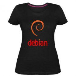 Женская стрейчевая футболка Debian