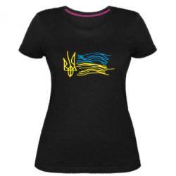 Жіноча стрейчева футболка Дитячий малюнок прапор України