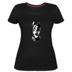 Жіноча стрейчева футболка Доберман чорний