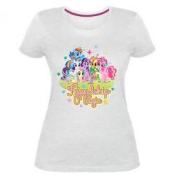 Жіноча стрейчева футболка Дружба це чудо - FatLine