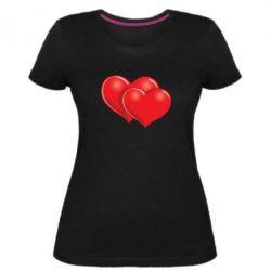 Женская стрейчевая футболка Два сердца