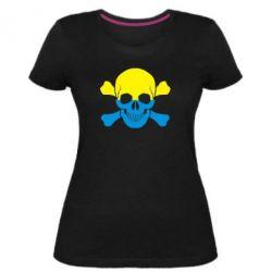 Женская стрейчевая футболка Двокольоровий череп - FatLine