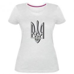 Жіноча стрейчева футболка Двокольоровий герб України