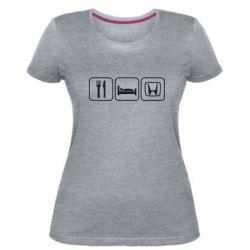 Женская стрейчевая футболка Eat Sleep Honda - FatLine