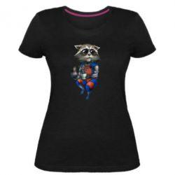 Женская стрейчевая футболка Енот Ракета и Грут - FatLine