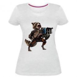 Женская стрейчевая футболка Енот Стражи Галактики