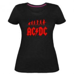 Жіноча стрейчева футболка Еволюція AC\DC