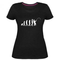 Жіноча стрейчева футболка Еволюція рибалки