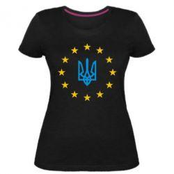Жіноча стрейчева футболка ЕвроУкраїна