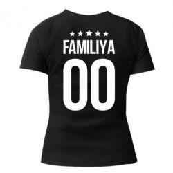 Жіноча стрейчева футболка Прізвище та номер