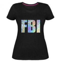 Жіноча стрейчева футболка FBI голограма
