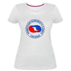 Женская стрейчевая футболка Федерация Боевого Самбо Украина - FatLine