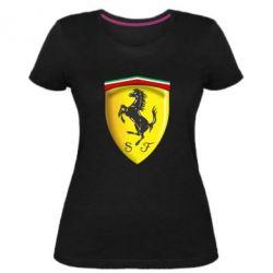 Женская стрейчевая футболка Ferrari 3D Logo