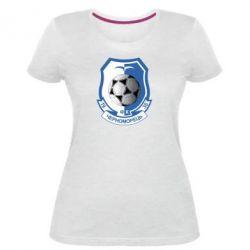 Женская стрейчевая футболка ФК Черноморец Одесса - FatLine