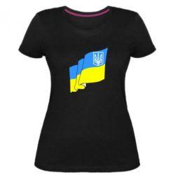 Женская стрейчевая футболка Флаг Украины с Гербом