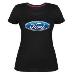 Женская стрейчевая футболка Ford 3D Logo