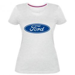 Женская стрейчевая футболка Ford Logo