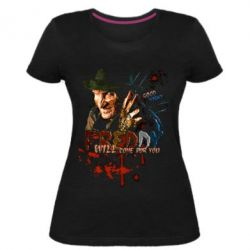 Купить Женская стрейчевая футболка Freddy says Good night, FatLine