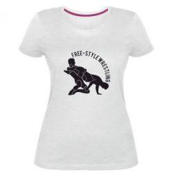Женская стрейчевая футболка Free-style wrestling