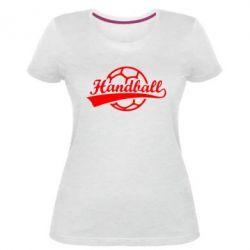 Жіноча стрейчева футболка Гандбол Лого
