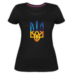Женская стрейчевая футболка Герб из ломанных линий - FatLine