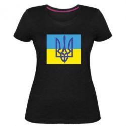 Жіноча стрейчева футболка Герб на прапорі
