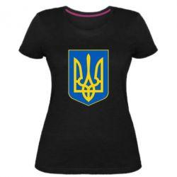 Жіноча стрейчева футболка Герб неньки-України