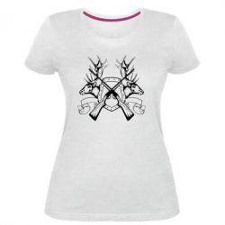Жіноча стрейчева футболка Герб Охотника