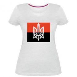 Женская стрейчевая футболка Герб Правого Сектору