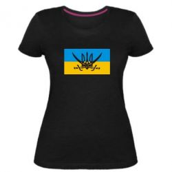 Женская стрейчевая футболка Герб та шаблі - FatLine
