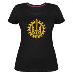 Женская стрейчевая футболка Герб у сонці - FatLine