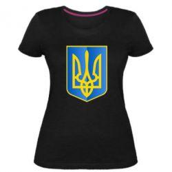 Женская стрейчевая футболка Герб України 3D